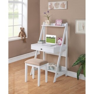 Wooden writing Desk with Stool Set In White