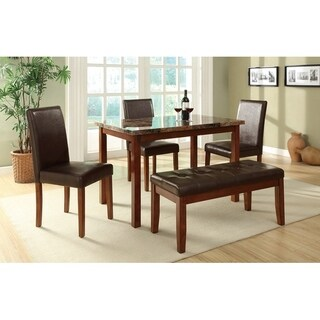 5 Piece Dining Set With Chairs And Bench In Brown