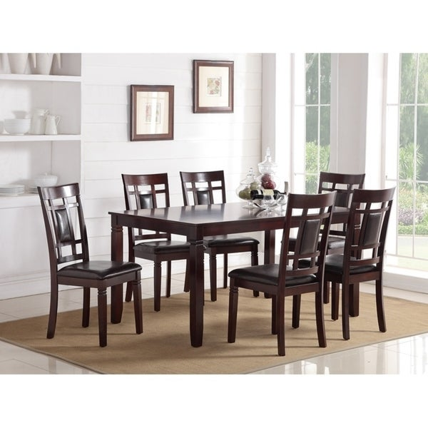 Modish 7 Pieces Dining Set of Rubber Wood In Espresso Brown  sc 1 st  Overstock.com & Modish 7 Pieces Dining Set of Rubber Wood In Espresso Brown - Free ...