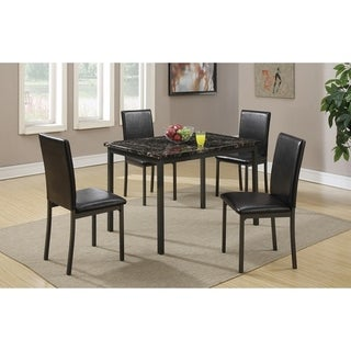 Faux Marble And Metal Frame 5 Pieces Dining Set In Black