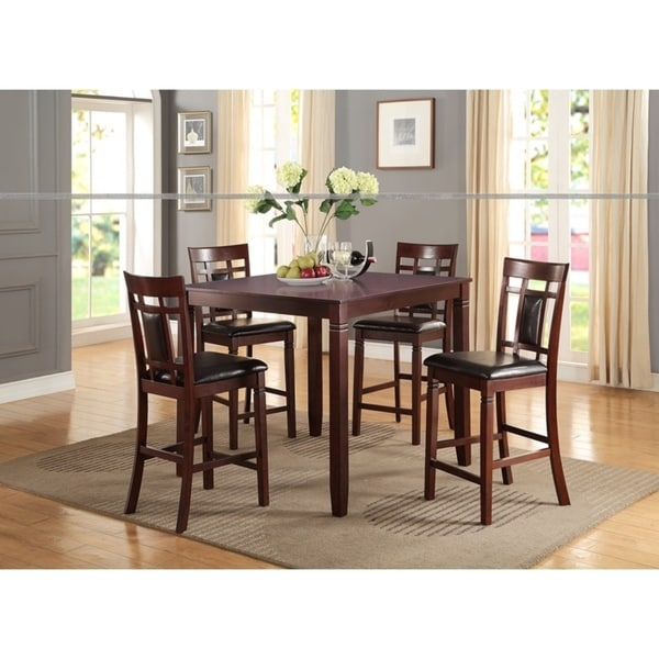 Swish Cashew Wood 5 Pieces Counter Height Dining Set In Brown