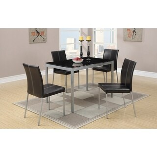 Temper Glass And Metal Frame 5 Pieces Dining Set In Black & Gray