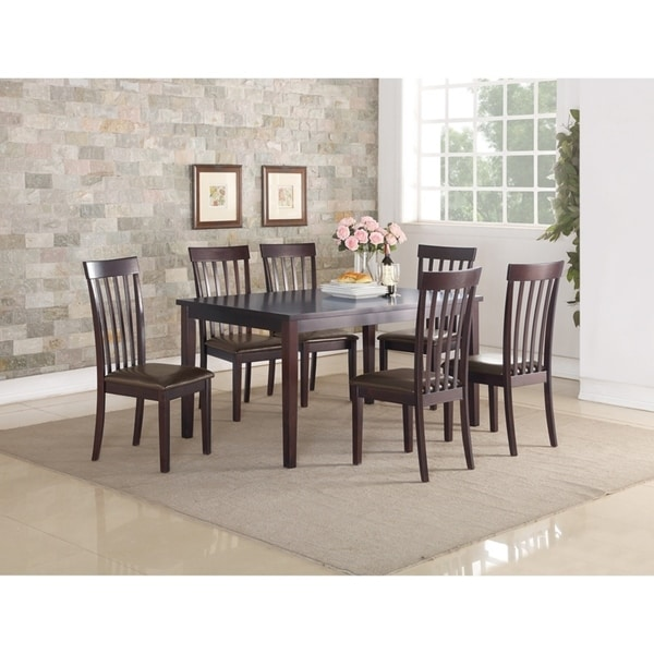 Rubber Wood 7 Pieces Dining Set In Espresso Brown