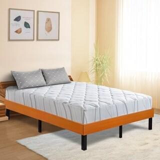 Sleeplanner Wood Platform Bed Steel Slat support Vintage Cherry 14WF01F Size - Full