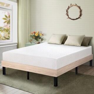 Sleeplanner Wood Platform Bed Steel Slat Support Stylish Natural 14WF04K Size - King