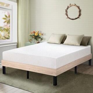 SleeplannerWood Platform Bed Steel Slat support Stylish Natural 14WF04F