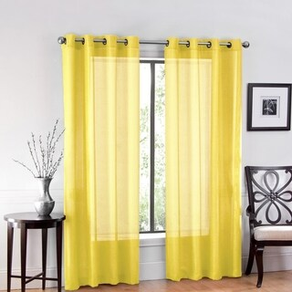 """One Luxurious Sheer Grommet Curtain Panels """"54 x 84"""" Yellow"""