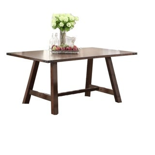 Simply Trimmed Rubber Wood, MDF & Acacia Veneer Dining Table, Brown