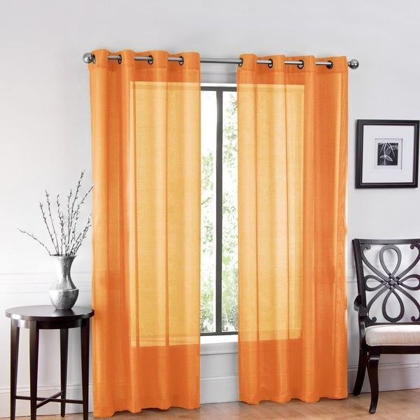 One Luxurious Sheer Grommet Curtain Panels 54 X 84 Orange On Free Shipping Orders Over 45 20714907