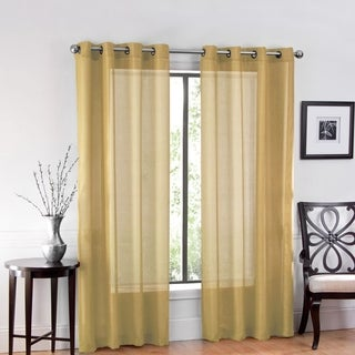 """One Luxurious Sheer Grommet Curtain Panels """"54 x 84"""" Gold"""