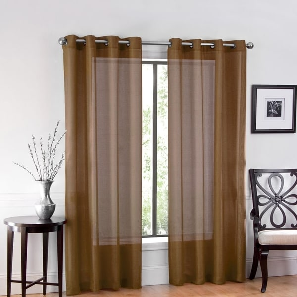 One Luxurious Sheer Grommet Curtain Panels 54 X 84 Chocolate Cake Free Shipping On Orders Over 45 26542665