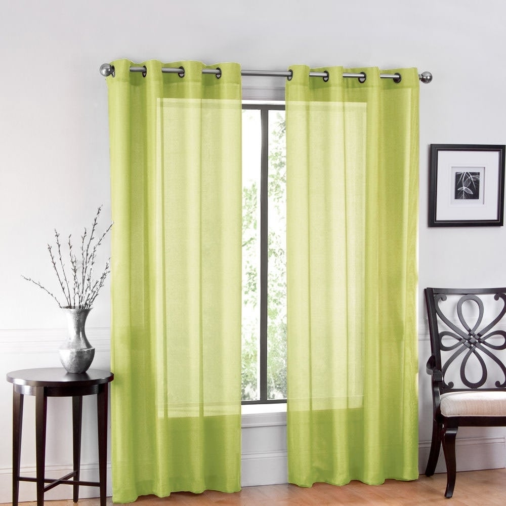 Details About One Luxurious Sheer Grommet Curtain Panels 54 X 84 Avocado