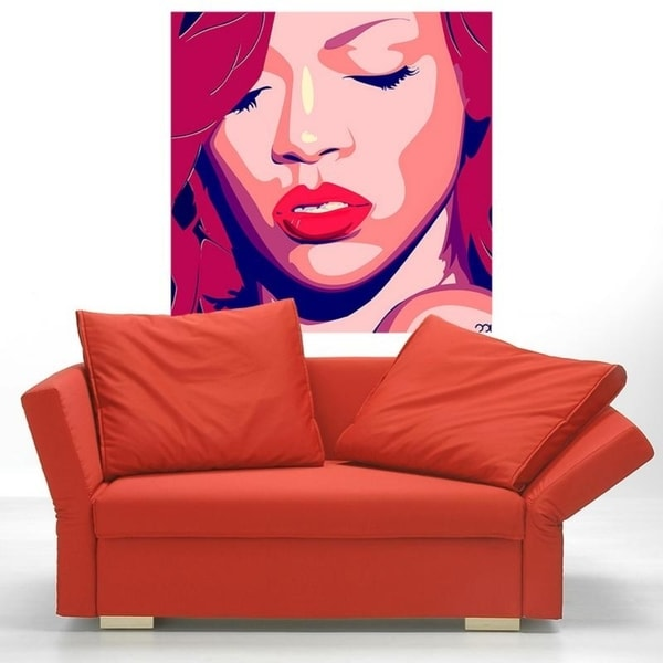 """Girl Portrait Full Color Wall Decal Sticker AN-235 FRST Size 20""""x20"""""""