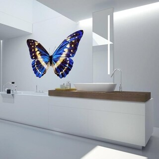 """Blue Butterfly Full Color Wall Decal Sticker AN-272 FRST Size52""""x80"""""""
