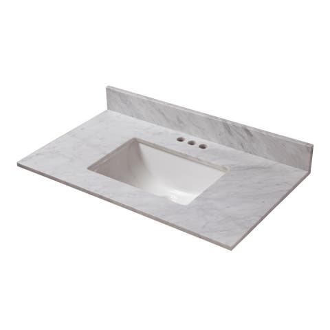 25 in. x 19 in. Carrara Marble Vanity Top & 4 in. Spread