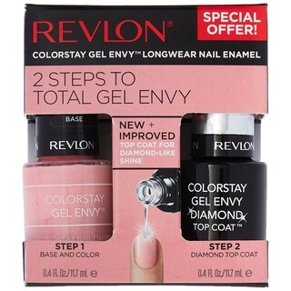 Revlon 2 Steps To Total Gel Envy, Step 1 Base and Color in 1 + Step 2 High Performance Diamond Top Coat, #790 Cardshark