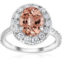 Bliss 14K White Gold 3ct TW Oval Morganite And Diamond Vintage Halo Engagment Ring