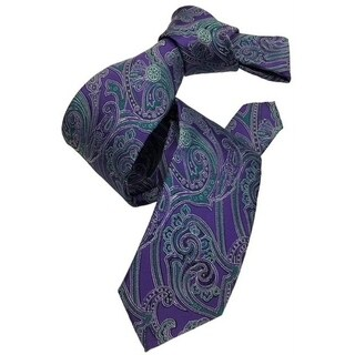 DMITRY Purple/Green Floral Patterned Italian Silk Tie