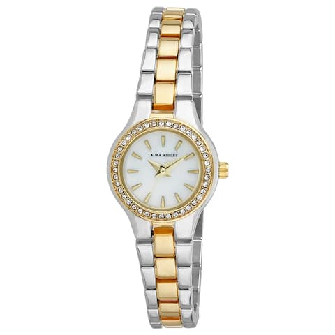 Laura Ashley Silver Mini Link Crystal Bezel Bracelet Watch