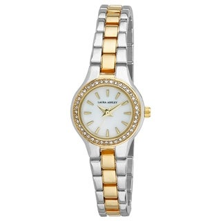 Laura Ashley Silver Mini Link Crystal Bezel Bracelet Watch