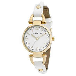 Laura Ashley Gold Ladies White Dial Analog Display Twisted Band Round Watch - N/A