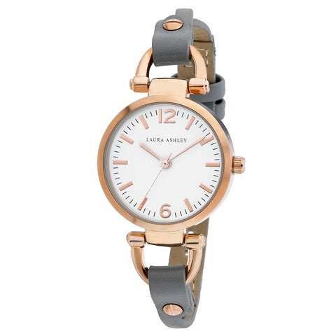 Laura Ashley Rosegold Ladies White Dial Analog Display Twisted Band Round Watch