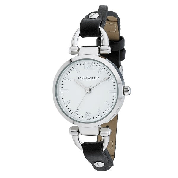 Laura Ashley Black Ladies White Dial Analog Display Twisted Band Round Watch - N/A