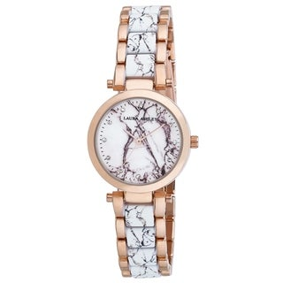Laura Ashley Rose Marbleized Inner Link and Dial Bracelet Watch - N/A