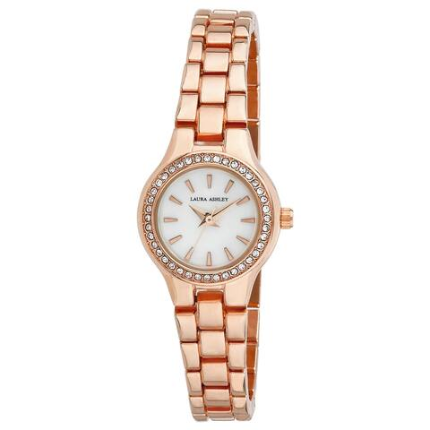Laura Ashley Rose Gold Mini Link Crystal Bezel Bracelet Watch