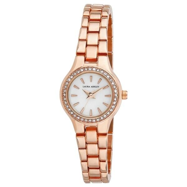 Laura Ashley Rose Gold Mini Link Crystal Bezel Bracelet Watch - N/A