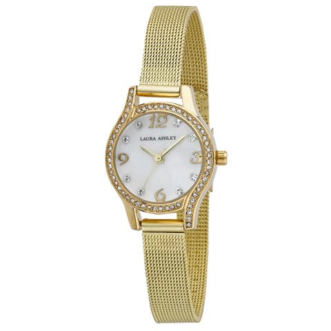 Laura Ashley Mini Mesh Bracelet Watch Gold, RoseGold