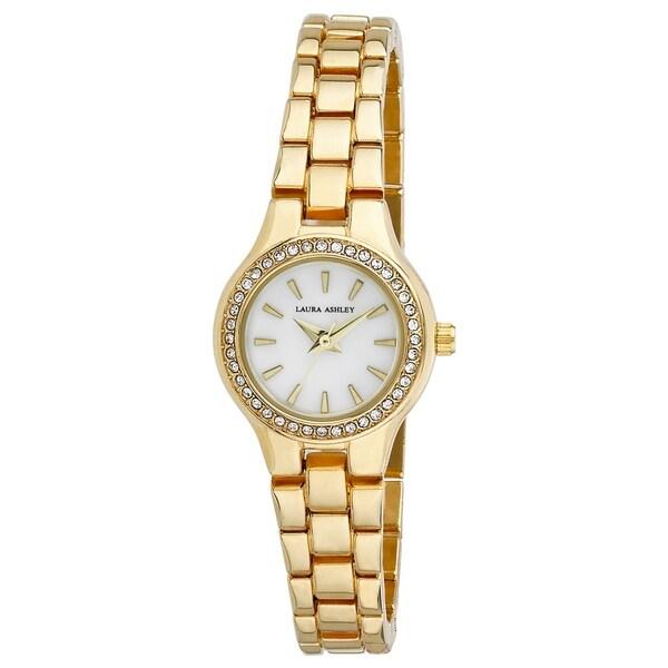Laura Ashley Gold Mini Link Crystal Bezel Bracelet Watch - N/A