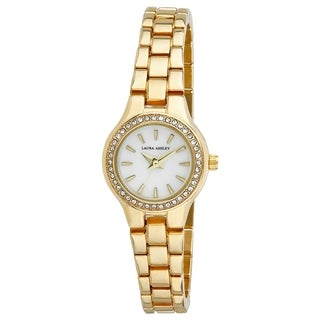 Laura Ashley Gold Mini Link Crystal Bezel Bracelet Watch