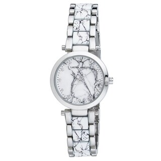 Laura Ashley Silver Marbleized Inner Link and Dial Bracelet Watch - N/A