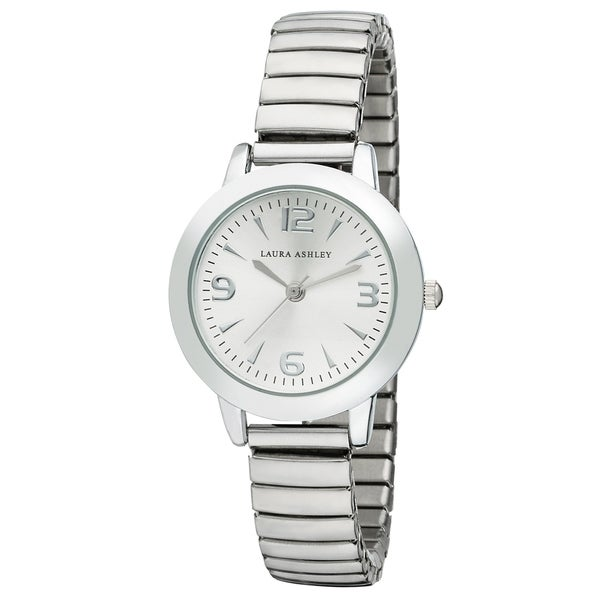 a7f863ad05 Shop Laura Ashley Silver Women's Round Expandable Stainless Steel ...
