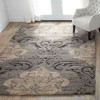 Mid-century Taupe/ Beige Floral Damask Shag Rug - 9' x 12'