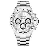 Stuhrling Original Men's Chronograph Watch Japanese Quartz Stainless Steel Bracelet Screw Down Crown