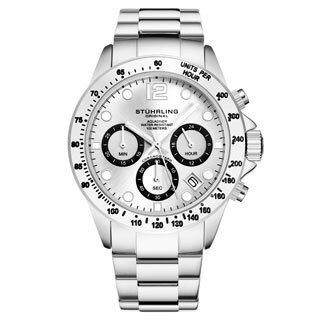 Stührling Original Men's Chronograph Watch Japanese Quartz Water Resistant 100 Meters Stainless Steel Bracelet Screw Down Crown (2 options available)