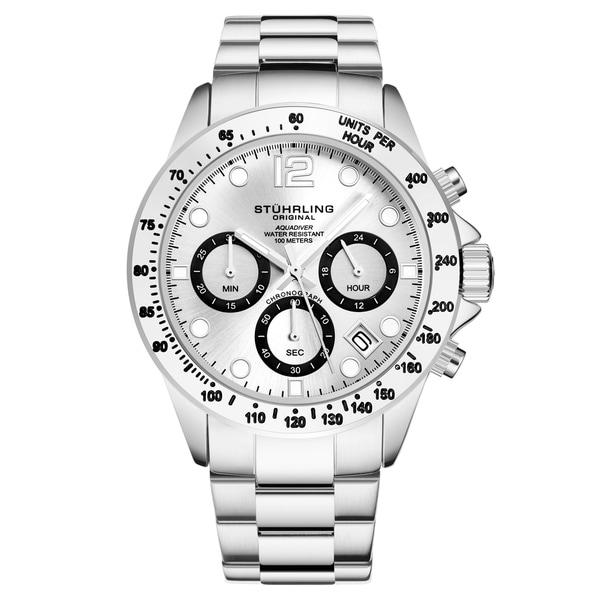 Stührling Original Men's Chronograph Watch Japanese Quartz Water Resistant 100 Meters Stainless Steel Bracelet Screw Down Crown
