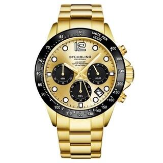 Stührling Original Men's Chronograph Watch Japanese Quartz Water Resistant 100 Meters Stainless Steel Bracelet Screw Down Crown (Option: Gold)