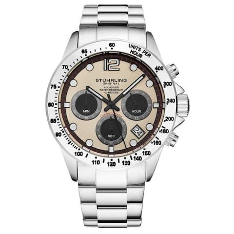 Stuhrling Original Men's Chronograph Watch Japanese Quartz Stainless Steel Bracelet Screw Down Crown