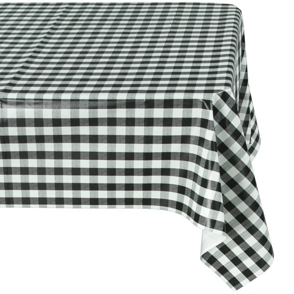 Berrnour Home Vinyl Black Yellow Checkered Design Indoor/Outdoor Tablecloth    102 Inches