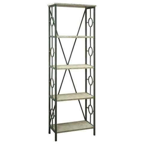 Key Largo Seafoam Green and Antique White Wood 4-shelf Etagere