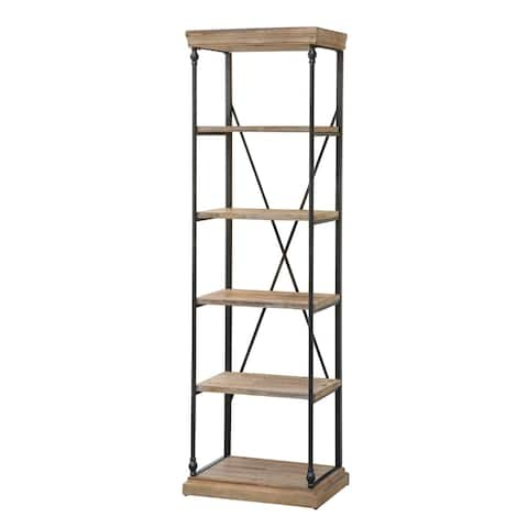 La Salle Tan Metal and Wood Etagere