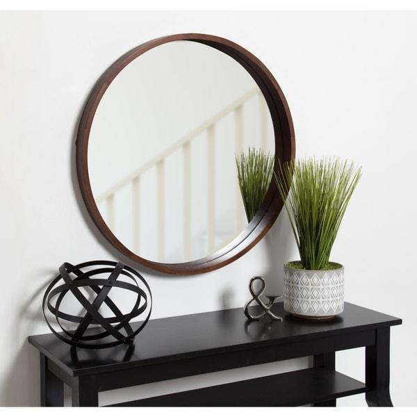 Shop Hutton Round Decorative Wood Frame Wall Mirror, 30 Inch ...