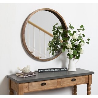 Hutton Round Decorative Wood Frame Wall Mirror, 30 Inch Diameter