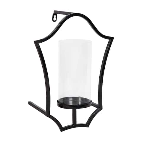Curran Shield Metal Sconce Wall Candle Holder, with Glass Pillar