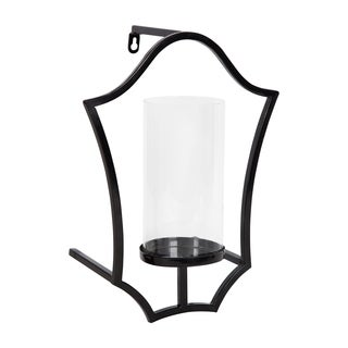 Curran Shield Metal Sconce Wall Candle Holder, with Glass Pillar (2 options available)