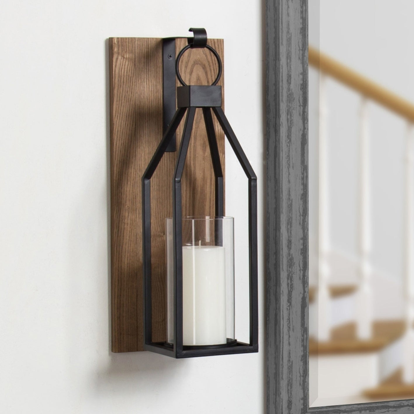 Wall Mounted CANDLE HOLDER Contemporary metal /& wood wall SCONCE