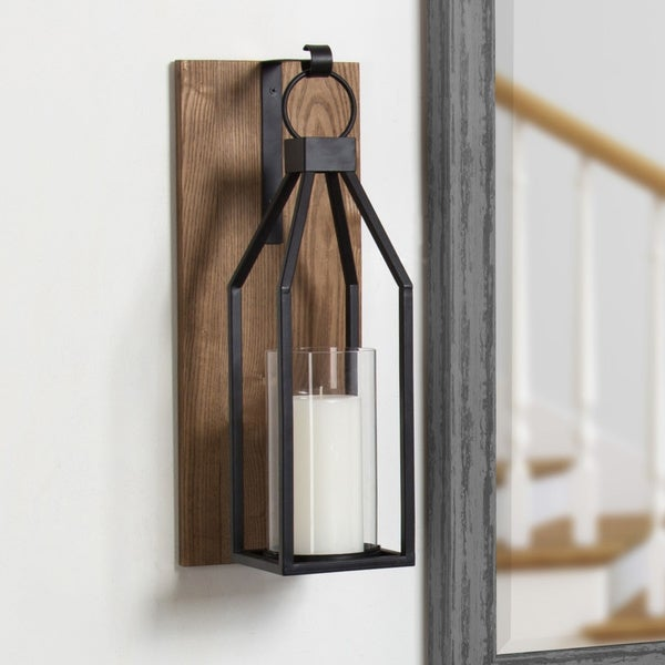Kate and Laurel - Oakly Wood and Metal Wall Sconce Candle Holder